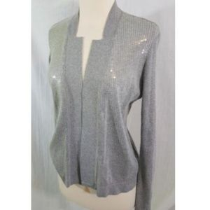 Cache Sequined Open Front Cardigan Sweater S Gray